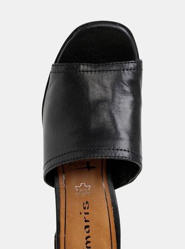Čierne kožené šľapky na podpatku Tamaris