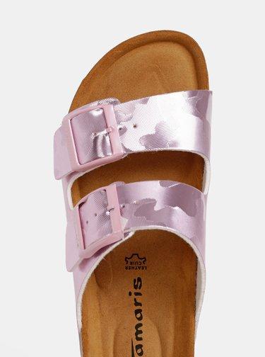 Rúžové vzorované šľapky Tamaris