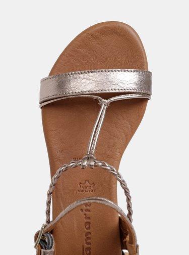 Hnědé metalické kožené sandály Tamaris