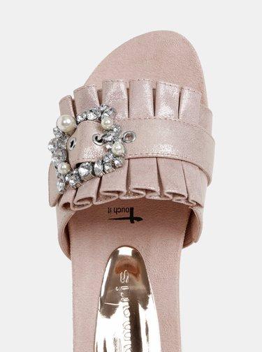 Růžové pantofle v semišové úpravě Tamaris