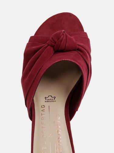 Vínové semišové pantofle Tamaris