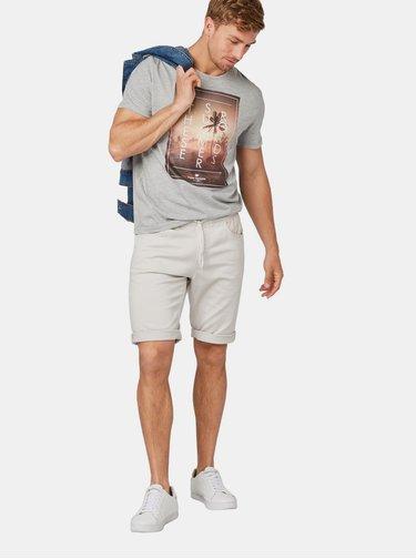 Šedé pánské žíhané tričko s potiskem Tom Tailor