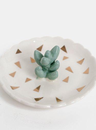 Bílá miska na šperky s motivem kaktusu Disaster Urban Succulent