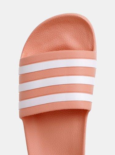 Marhuľové dámske pruhované šľapky adidas Performance Adilette