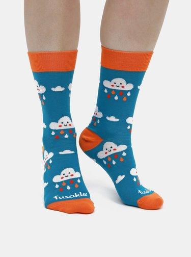 Modré dámské vzorované ponožky Fusakle Mraky