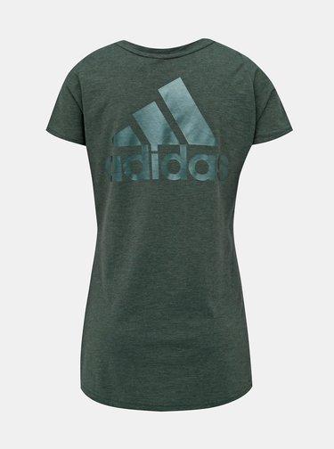 Zelené dámské tričko s potiskem na zádech adidas Performance