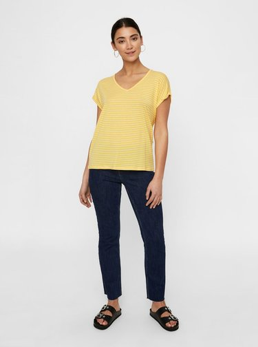 Tricou basic galben in dungi AWARE by VERO MODA Ava