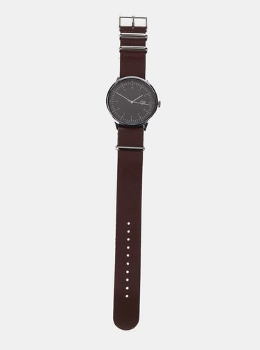 Pánske hodinky v striebornej farbe s hnedým koženým remienkom CHPO Harold