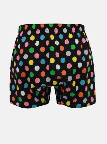 Boxeri negri cu buline multicolore Happy Socks Big Dots