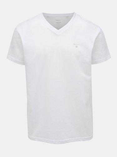 Sada dvou bílých basic triček s véčkovým výstřihem GANT