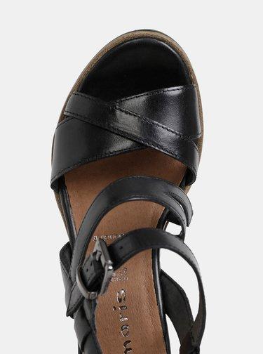 Čierne kožené sandálky na plnom podpätku Tamaris