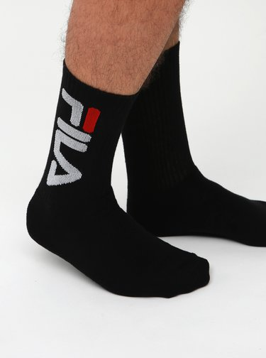 Sada dvoch párov pánskych čiernych ponožiek FILA