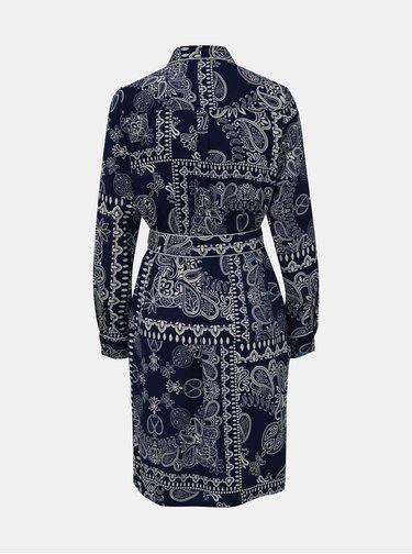 Tmavě modré vzorované košilové šaty Dorothy Perkins