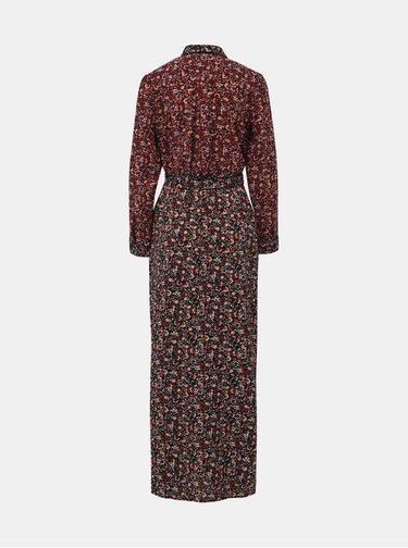 Vínové květované košilové maxišaty Dorothy Perkins