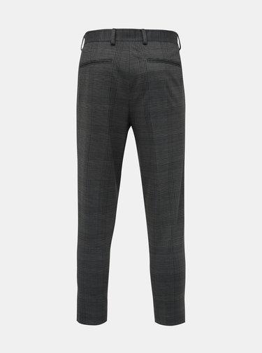 Šedé kostkované zkrácené tapered fit kalhoty Selected Homme