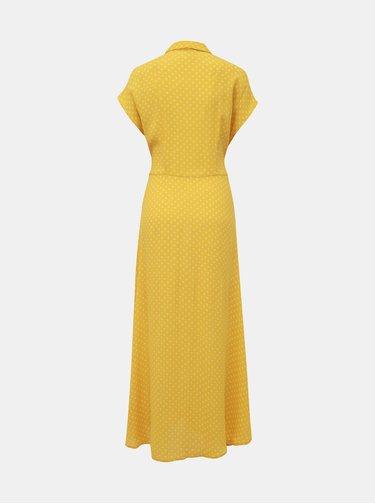 Žluté puntíkované košilové maxišaty VERO MODA Bigail