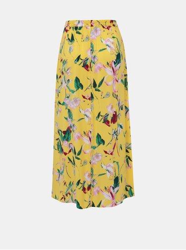 Žltá kvetovaná maxi sukňa VERO MODA Simply