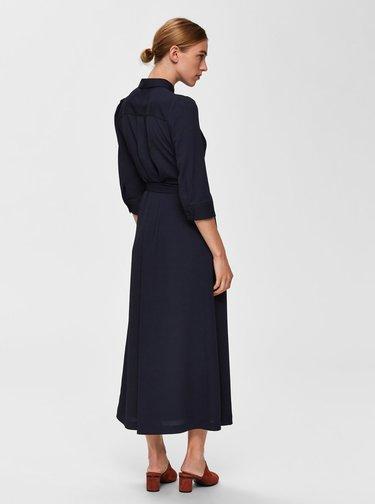 Tmavě modré košilové maxišaty s páskem Selected Femme Dorit