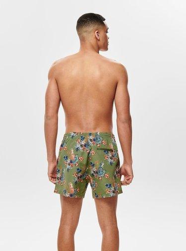 Kaki kvetované plavky ONLY & SONS Tan