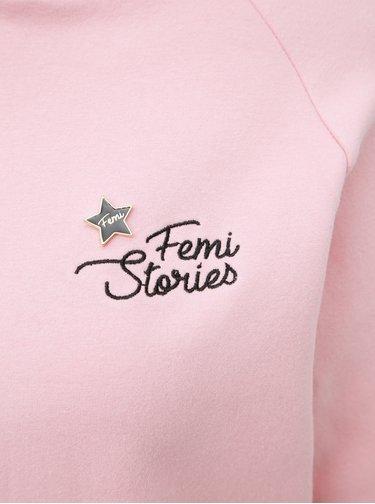 Růžová mikina  s odznakem ve tvaru hvězdy Femi Stories Mila