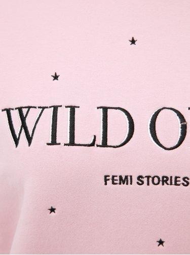 Růžová mikina s výšivkou Femi Stories Laura