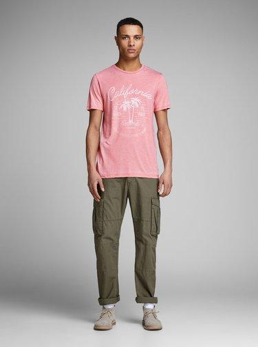 Rúžové žíhané tričko Jack & Jones New Hero