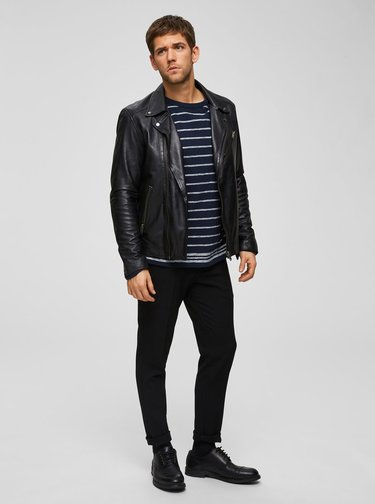 Pulover albastru inchis in dungi Selected Homme Jack