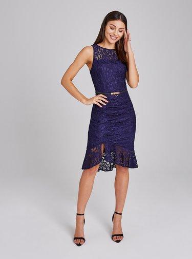Tmavě modré krajkované šaty s řasením na boku Paper Dolls