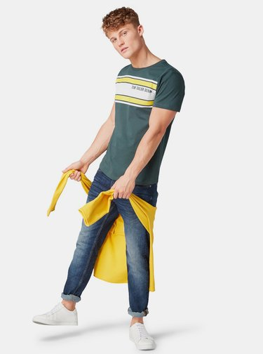 Tmavozelené pánske tričko s potlačou Tom Tailor Denim