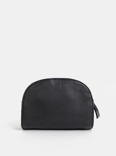 Černá kožená crossbody kabelka Pieces Honoria