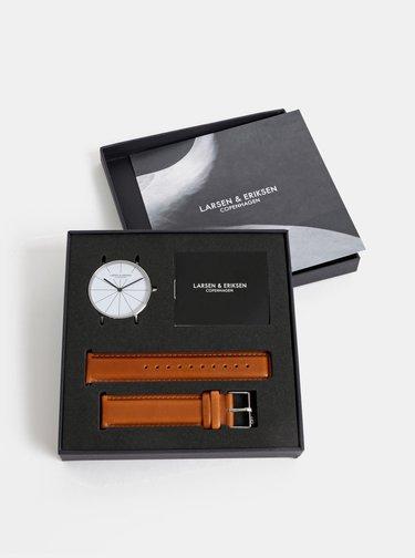 Pánské hodinky s hnědým koženým páskem LARSEN & ERIKSEN