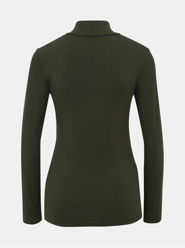 Tmavě zelené basic tričko s rolákem Selected Femme Mio