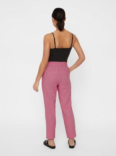 Starorůžové lněné kalhoty s vysokým pasem VERO MODA Anna