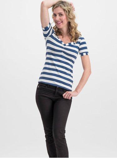 Bílo-modré pruhované tričko Blutsgeschwister Logo Stripe