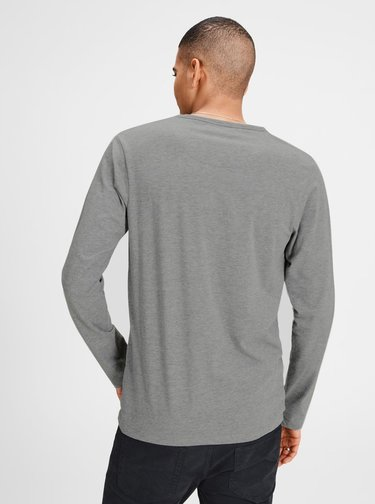 Šedé basic tričko s dlouhým rukávem Jack & Jones Basic