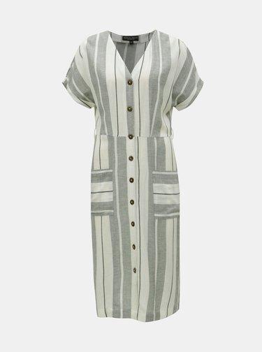 Krémovo–zelené pruhované košeľové šaty s prímesou ľanu Dorothy Perkins