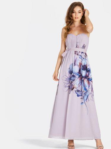 Světle fialové květované maxišaty Little Mistress