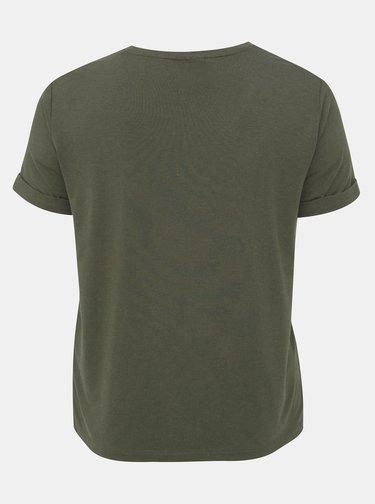 Kaki basic tričko ONLY CARMAKOMA Carma