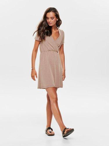 Hnědé pruhované šaty ONLY Shirley