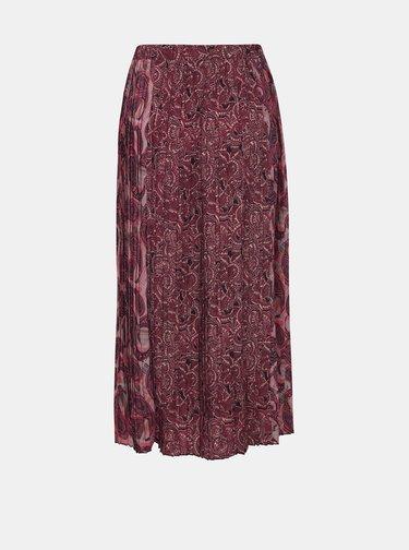 Vínová vzorovaná plisovaná midi sukňa ONLY Lamelia