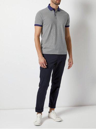 Bílo-modré pruhované polo tričko Burton Menswear London