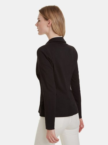 Čierne sako so sametovými detailmi Desigual Kendall