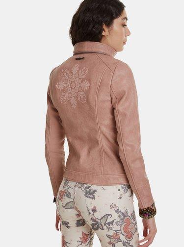 Starorúžová koženková bunda Desigual Dante