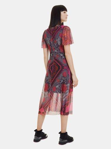 Růžové vzorované šaty Desigual Terry