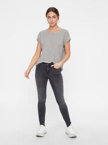 Černo-bílé pruhované basic tričko AWARE by VERO MODA Mava