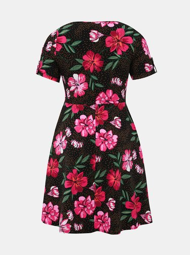 Rúžovo-čierne kvetované šaty Dorothy Perkins Curve