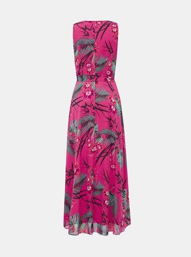 Rúžové kvetované maxi šaty Billie & Blossom
