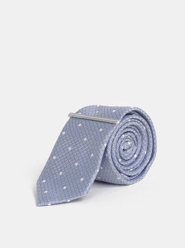 Modrá vzorovaná slim kravata se sponou Burton Menswear London Clip