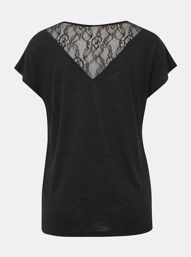 Černé tričko s krajkou ONLY Elena