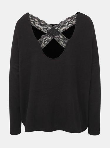 Černý ľahký sveter s krajkovým detailom ONLY Kleo